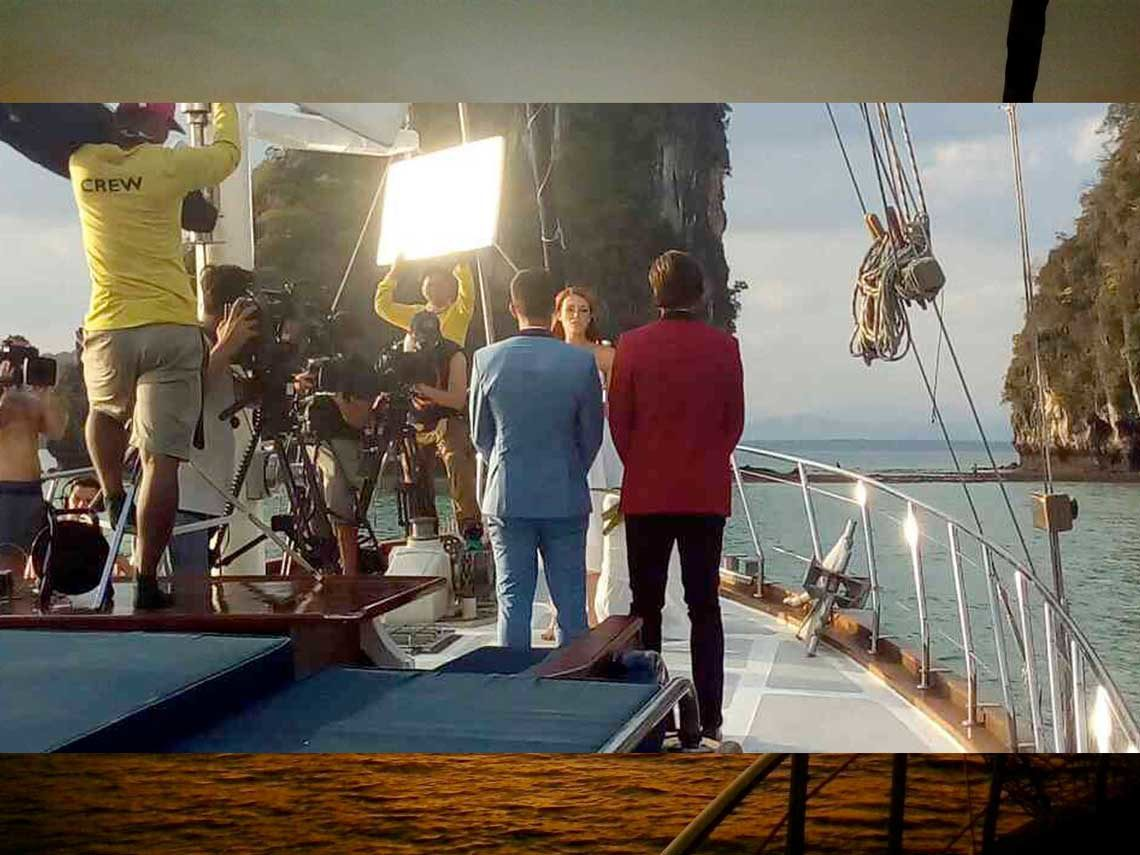 crew filming of the bachelorette tv show on Sail Escapes chartered yacht