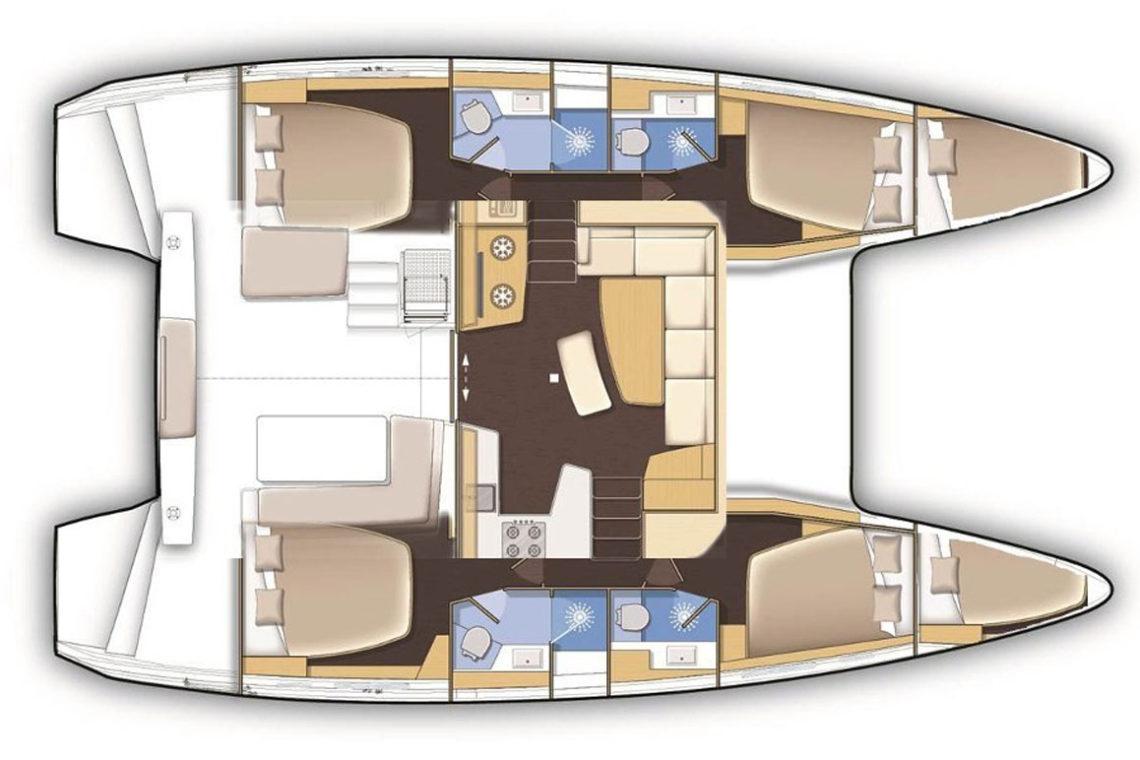 Lagoon 420 4 cabin plan